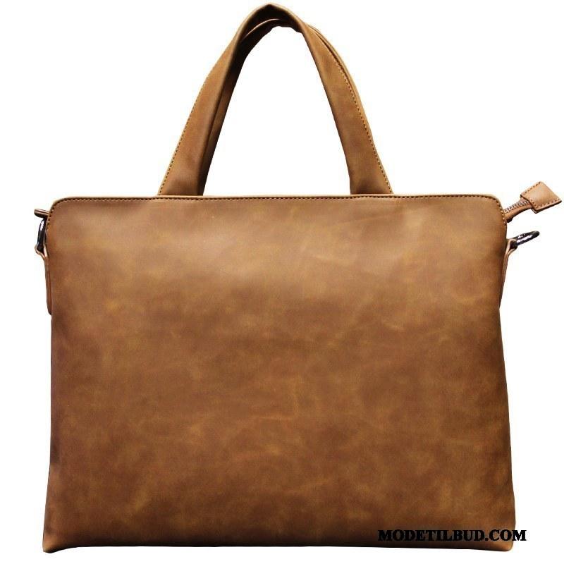 Herre Håndtasker Rabat Casual Rejsetaske Læder Messenger Taske Mænd Brun