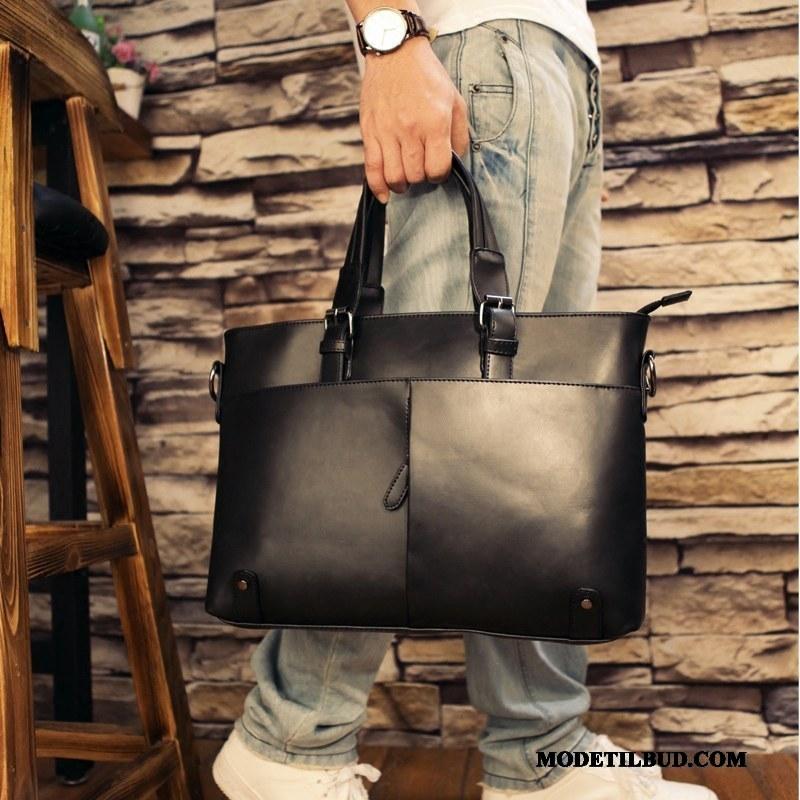 Herre Håndtasker Salg Computertaske Mode Trend Personlighed Mænd Sort