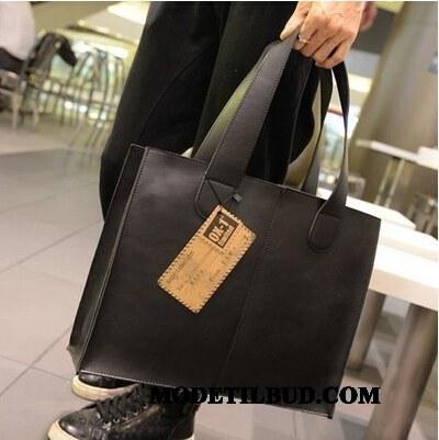 Herre Håndtasker Salg Stor Kapacitet Ny Vintage Læder Messenger Taske Sort
