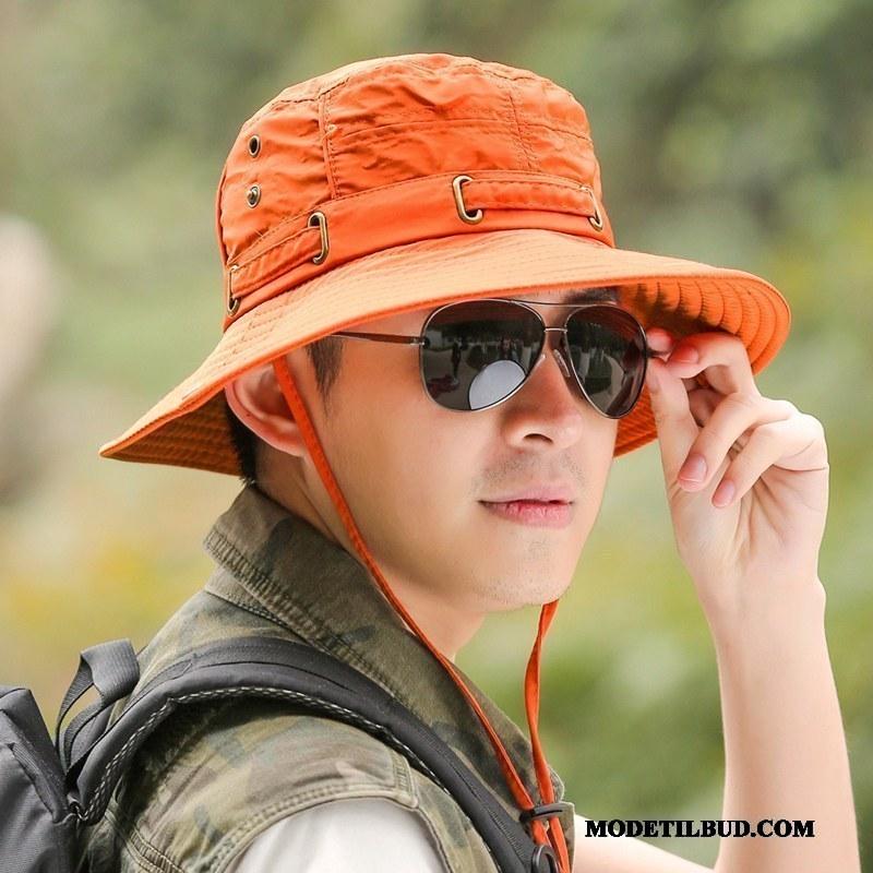 Herre Huer Billige Solhatte Fold Solcreme Fisker Hat Fiskeri Orange