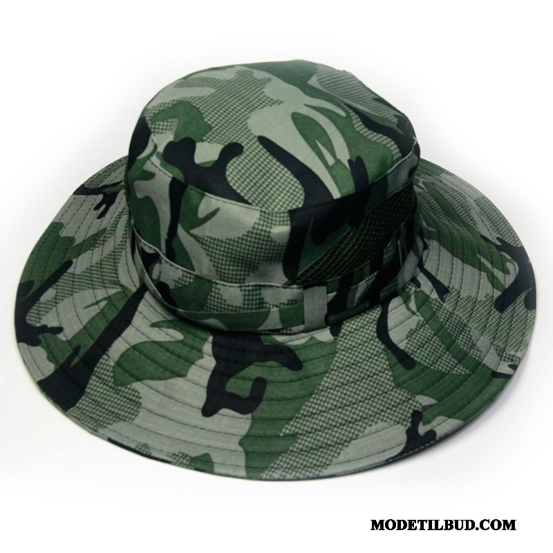 Herre Huer Salg Solcreme Solen Fiskeri Mænd Udendørs Militærgrøn Camouflage Cyan