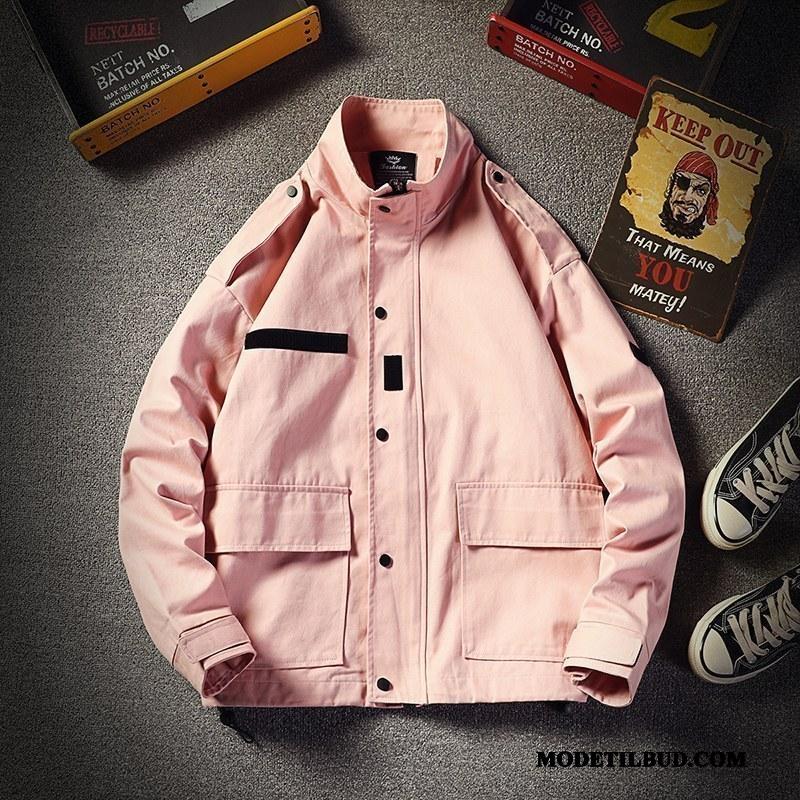Herre Jakker Billige Trendy Frakke Forår Brede Høj Krave Pink Cyan