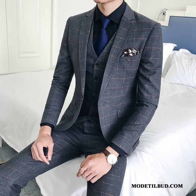 Herre Jakkesæt Køb Mode Personlighed Elegante Smuk Trendy Grå Lyse