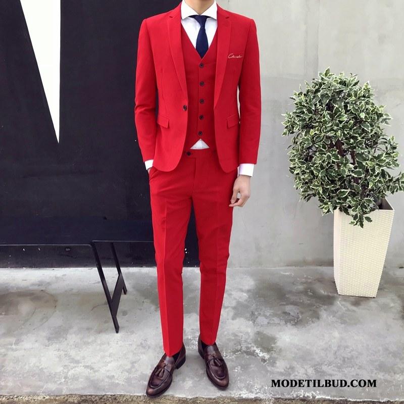 Herre Jakkesæt Rabat Mode Trendy Smuk Mænd Arbejde Rød Lyse