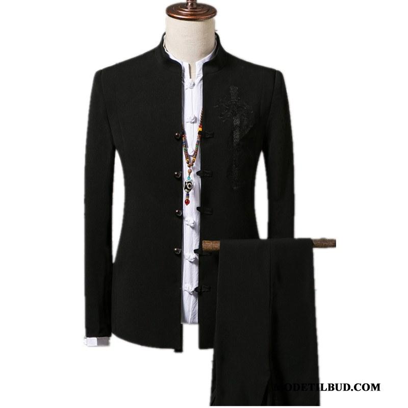 Herre Jakkesæt Salg Slim Fit Kinesisk Stil Trend Kjole Høj Krave Sort Cyan