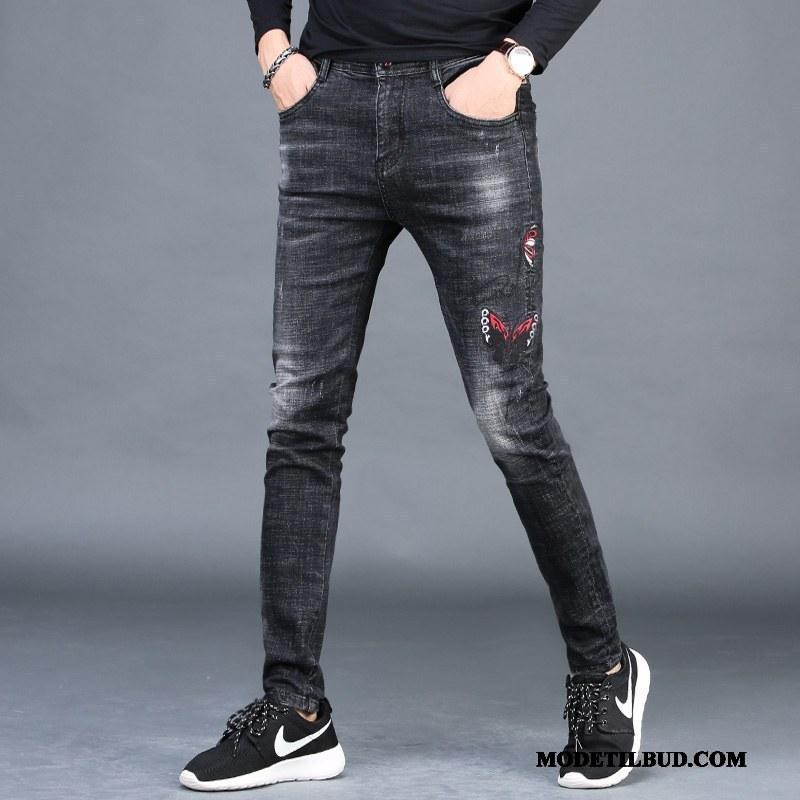 Herre Jeans Billige Trend Fritids Lille Sektion Bukser Cowboybukser Sort