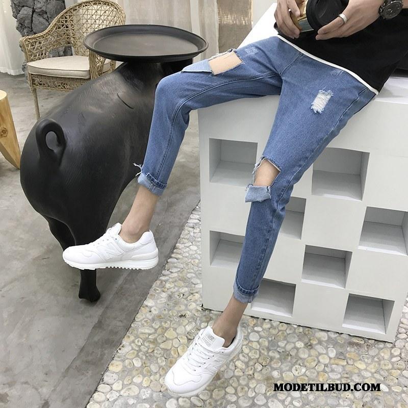 Herre Jeans Rabat Tynde Med Huller 2019 Slim Fit Mænd Lyse Blå