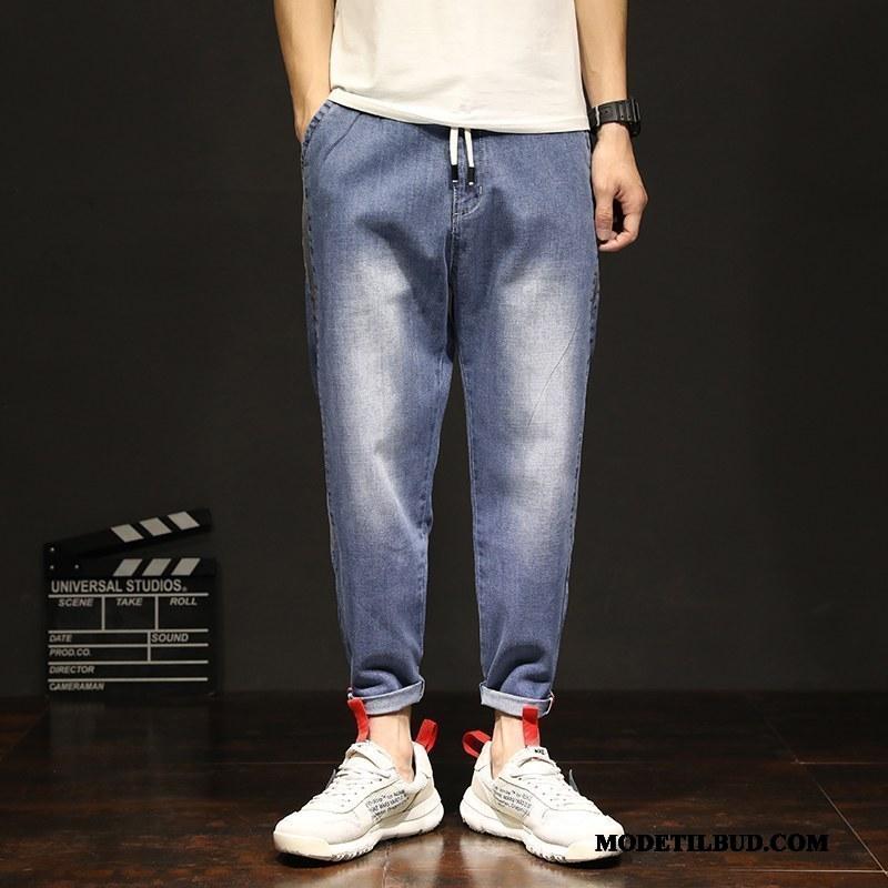 Herre Jeans Tilbud Cowboybukser Trend Brede Stor Elastik Cyan Blå