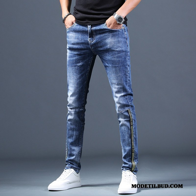 Herre Jeans Udsalg Trend Slim Fit Casual Bukser Sommer Cowboybukser Blå