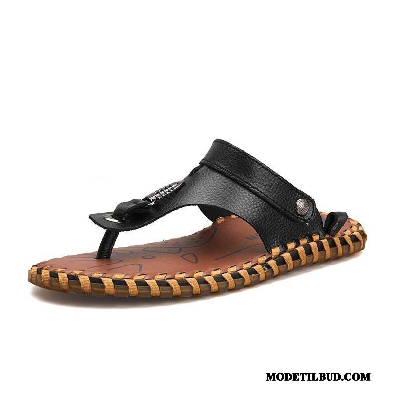 Herre Klipklappere På Udsalg Trend Slidstærk Udendørs Skridsikre Sandaler Sort Cyan