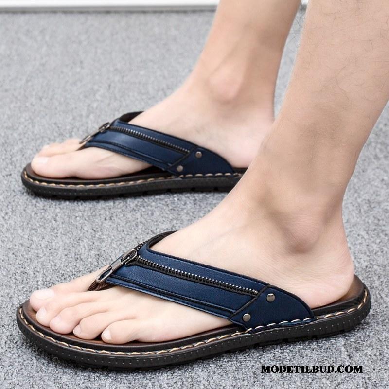 Herre Klipklappere Udsalg Af Personlighed Sommer Sandaler Udendørs Trend Mørkeblå Sand