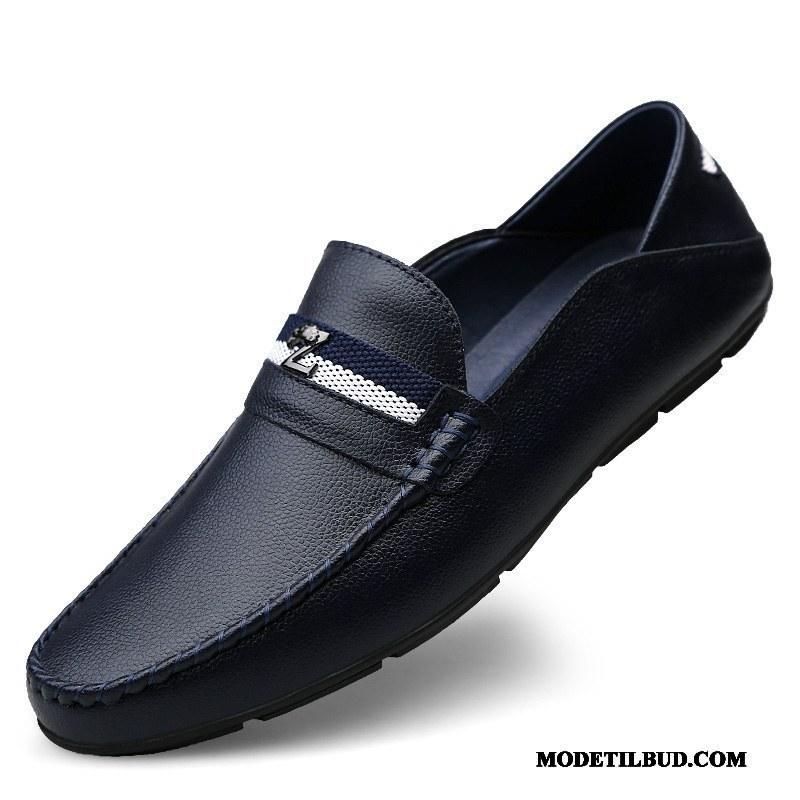 Herre Lædersko Udsalg Britisk Åndbare Trend Mokkasin Mode Cyan Blå