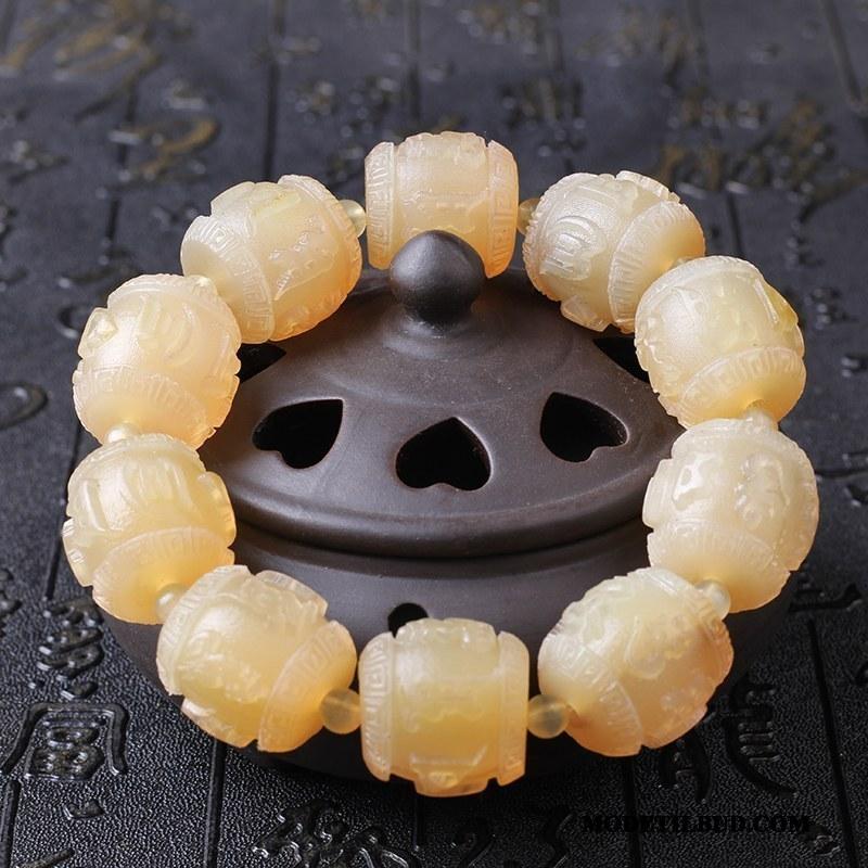 Herre Perle Armbånd Billige Naturlig Skulptur Mænd Horns Brun