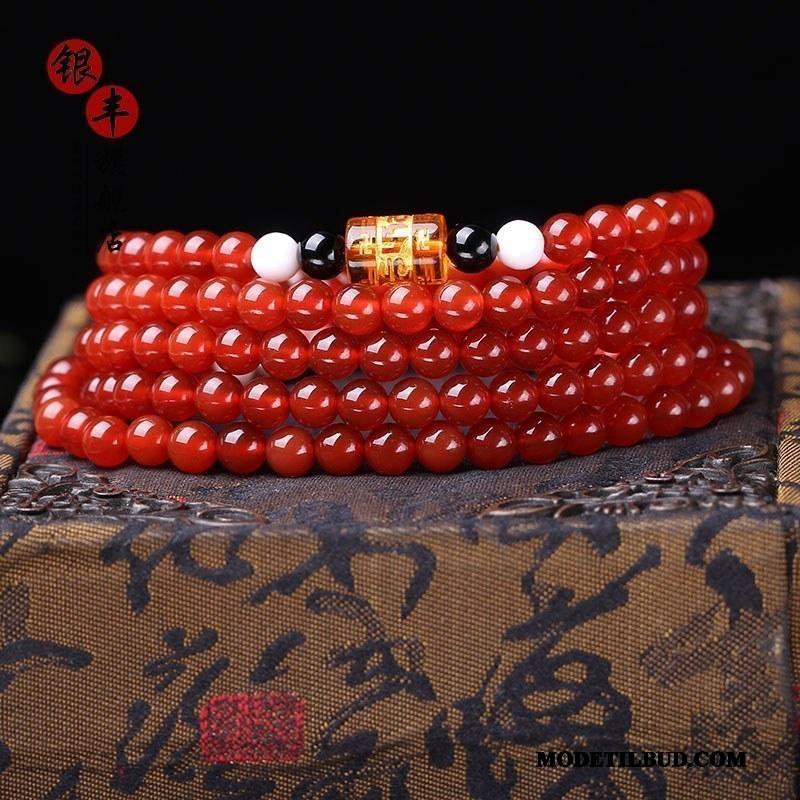 Herre Perle Armbånd Tilbud Mænd Fødselsdagsgave Rød Sort