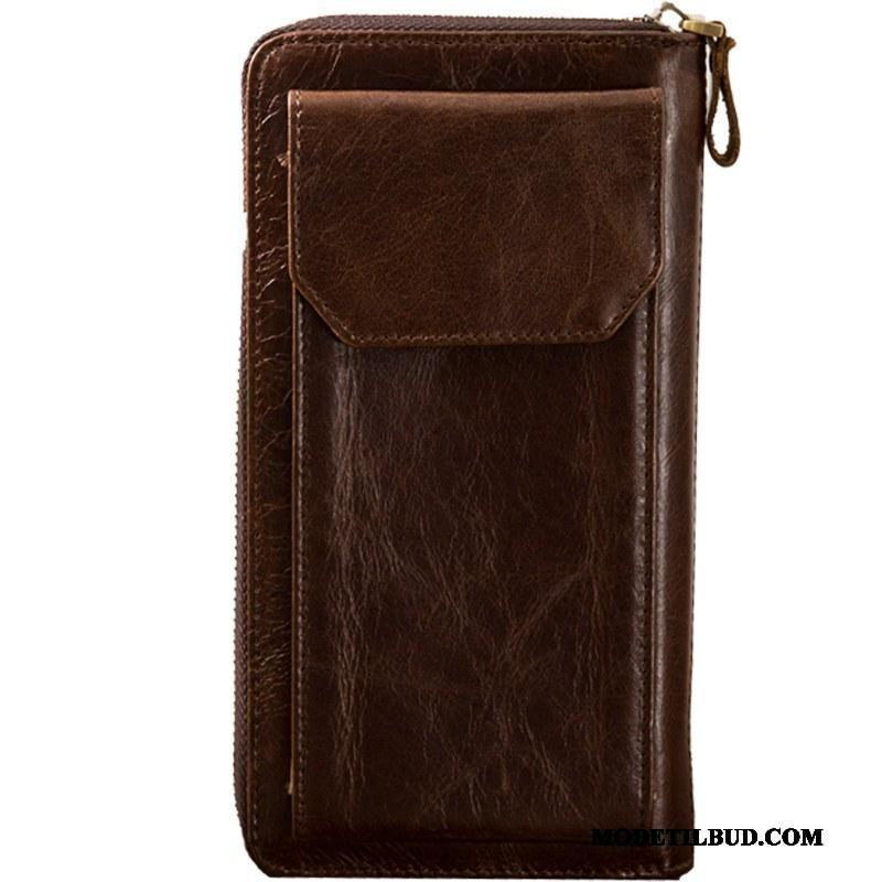 Herre Punge Billig Vintage Tegnebog Mænd Ægte Læder Stor Kapacitet
