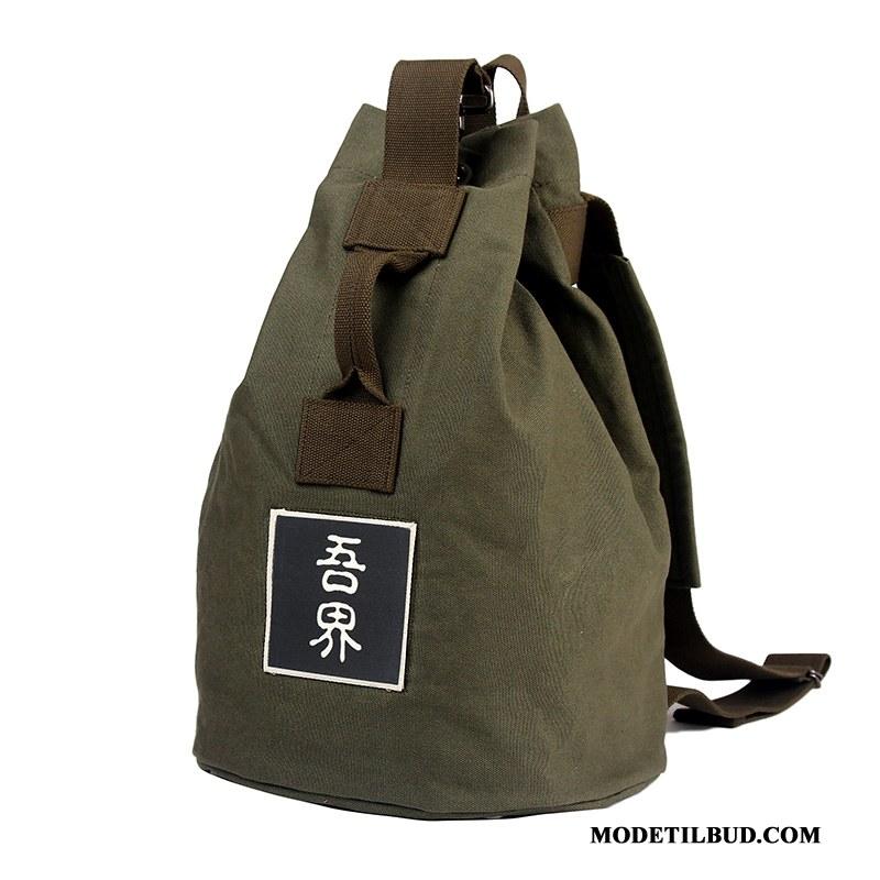 Herre Rygsække Tilbud Vintage Stor Rejse Mode Trend Militærgrøn