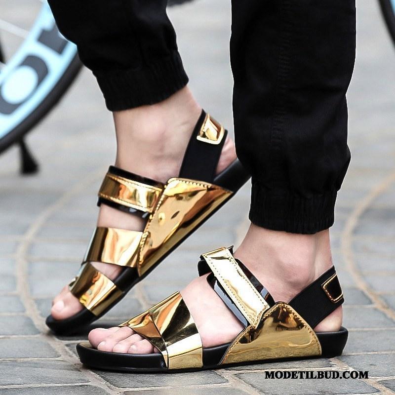 Herre Sandaler Billig Udendørs Velcro Mode Hjemmesko Trend Sand Guld