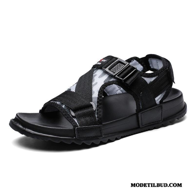 Herre Sandaler Køb Mænd Mode Trend Skridsikre Overtøj Sand Sort