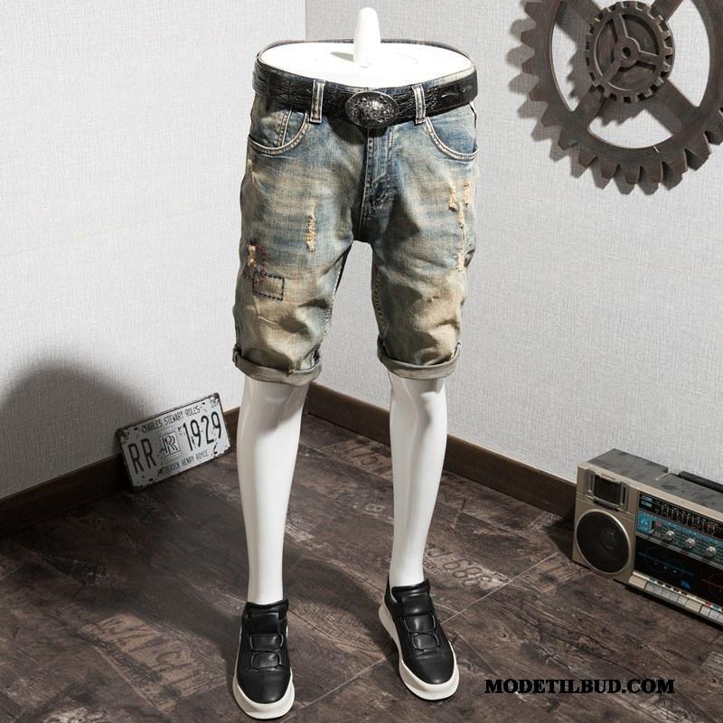 Herre Shorts Butik Midaldrende Cowboybukser Sommer Med Huller Bomuld Cyan Blå