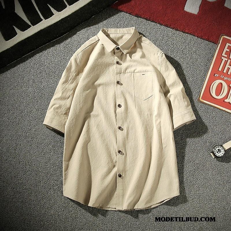 Herre Skjorter Billig Trend Halv Ærme Vintage Mænd Mode Ren Khaki
