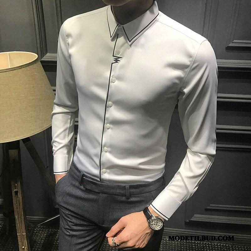 Herre Skjorter Billige Slim Fit Trend Forår Lange Ærmer Fritids Hvid