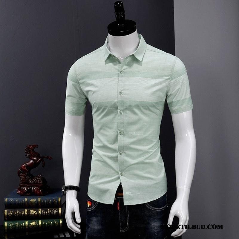 Herre Skjorter Billige Tryk Fritids Sommer Mode Tynde Cyan Grøn