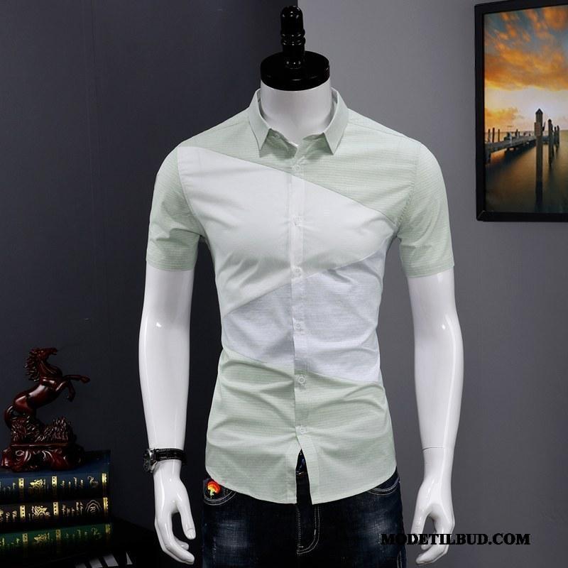 Herre Skjorter Butik Mænd Unge Splejsning Slim Fit Trend Cyan Grøn
