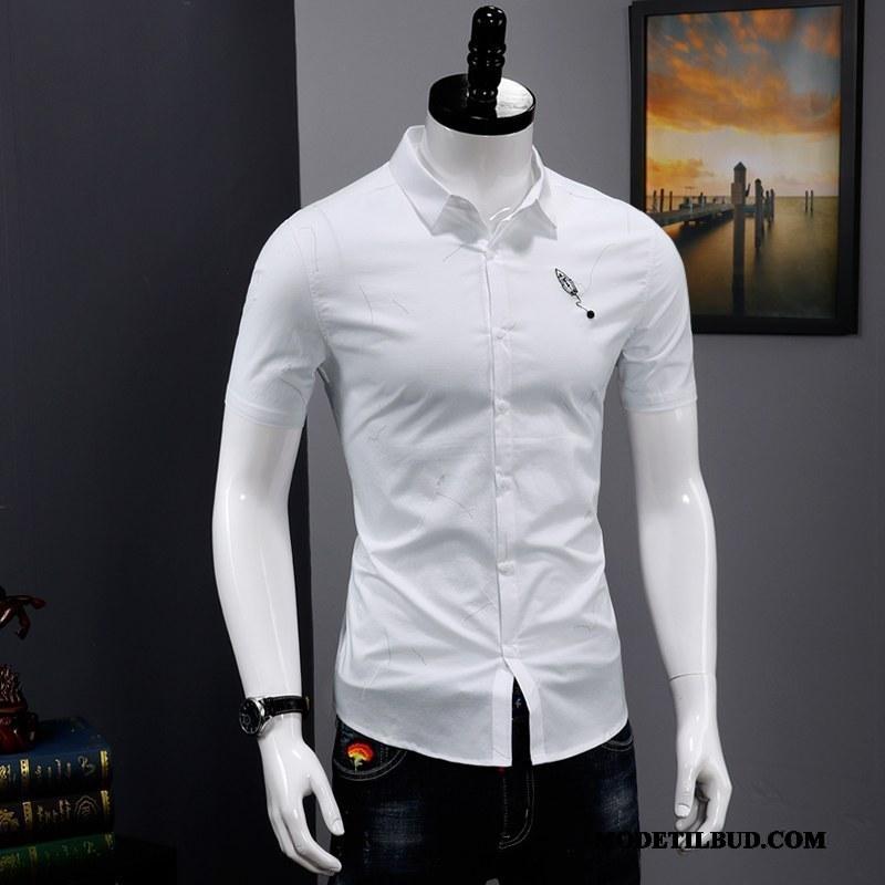 Herre Skjorter Køb Slim Fit Revers Mode Trend Tryk Hvid Cyan