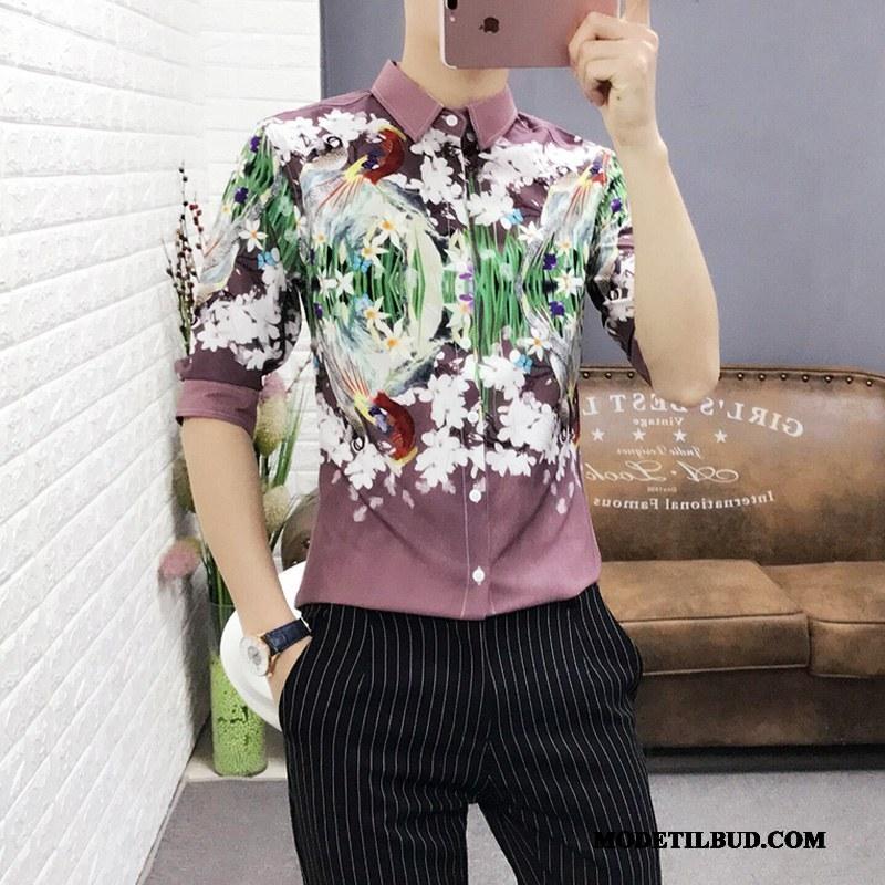 Herre Skjorter Rabat Sommer Trend Blomster Halv Ærme Tryk Lyserød