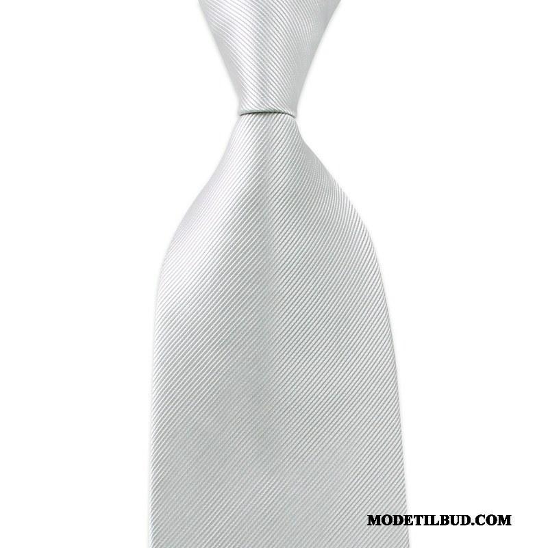 Herre Slips Butik Solid Farve Bøde Mænd Stribede Business Sølv Grå Mørk Lyse