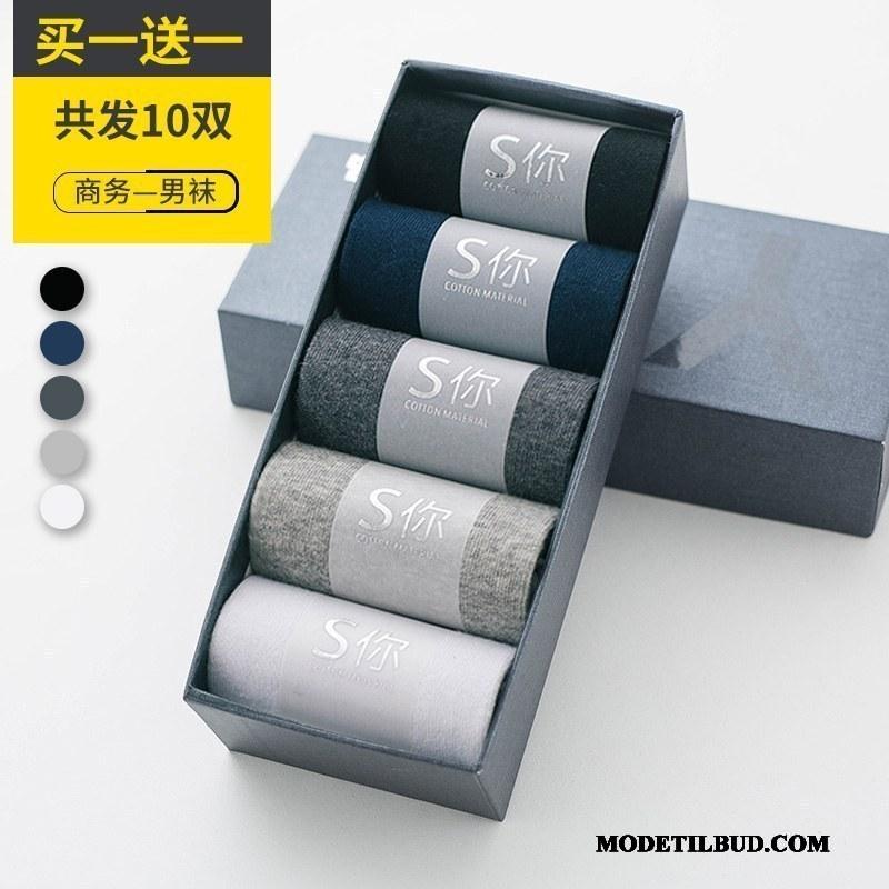 Herre Sokker Rabat Efterår Deodorant Absorberende Mid Kort Sokker Sort Blå