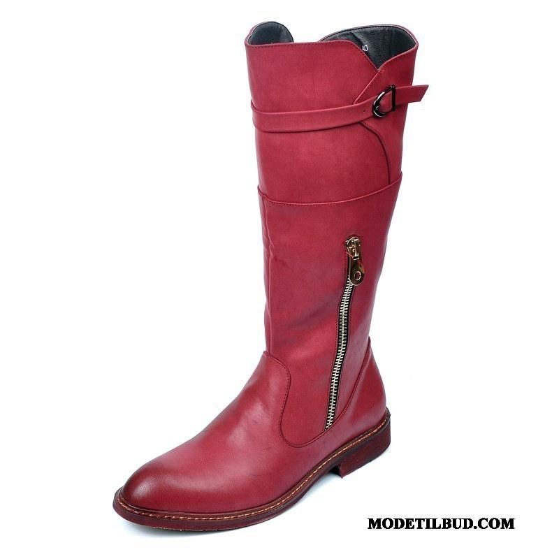 Herre Støvler Butik Høje Spidst Vintage Mode Læder Rød Sort