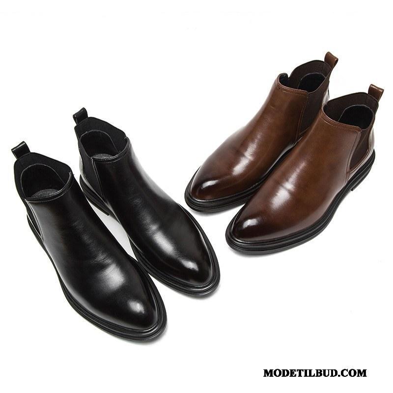Herre Støvler Tilbud Åndbare Martin Støvler Spidst Korte Støvler Trend Sort