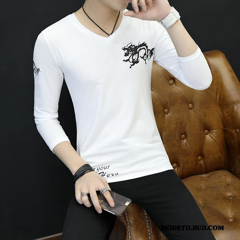 Herre T-shirts Salg Mænd Undertrøje Tynde Unge 2019 Hvid Cyan