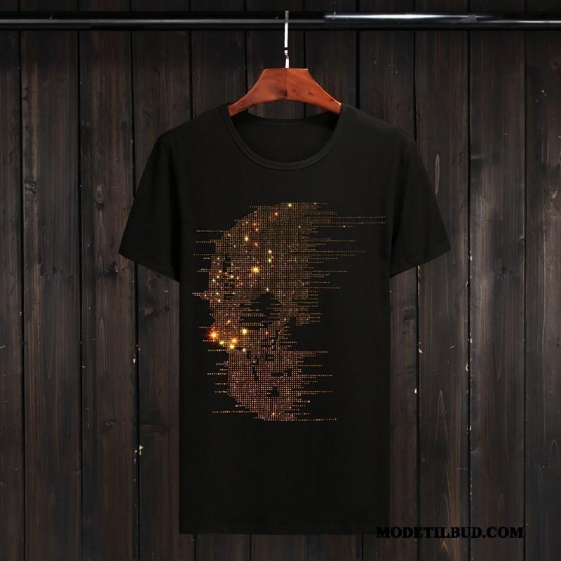 Herre T-shirts Tilbud Stor Trendy Mænd Fede Kort Ærme Sort