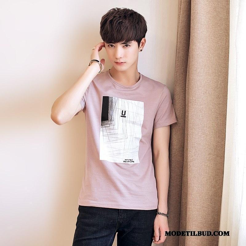 Herre T-shirts Udsalg Slim Fit Studerende Sommer Kort Ærme Trend Pink Hvid Cyan