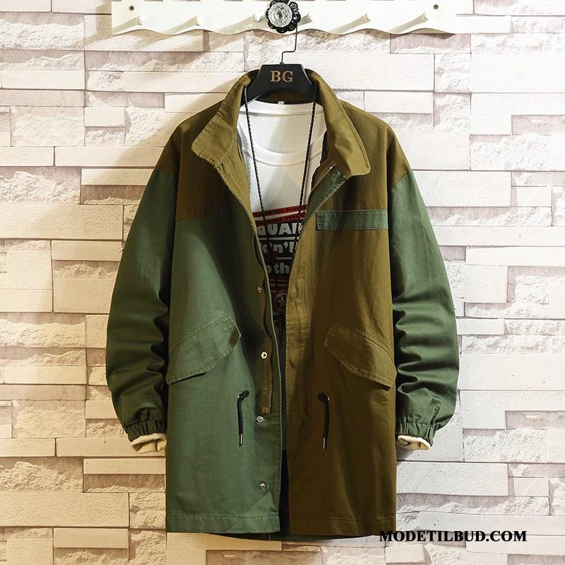 Herre Trenchcoat Billige 2019 Fritids Store Størrelser Vask Mænd Militærgrøn Blandede Farver
