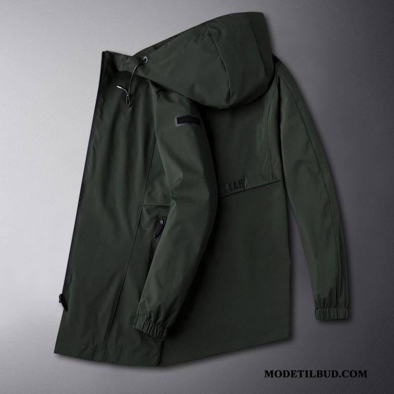 Herre Trenchcoat Rabat Efterår Frakke Lange Trend Fedt Ren Grøn
