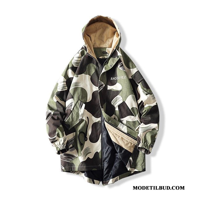 Herre Trenchcoat Tilbud Jakke Trend Efterår Fede Stor Camouflage