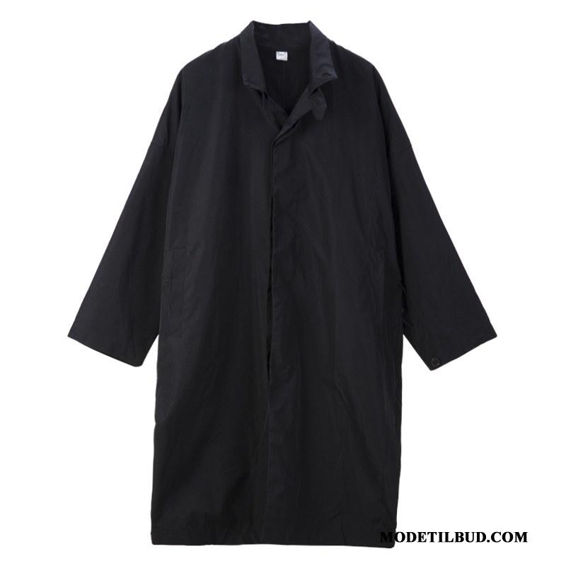 Herre Trenchcoat Tilbud Trend Smuk Frakke Brede Efterår Sort